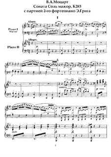 Sonata for Piano No.5 in G Major, K.283: Arrangement for two pianos four hands by Wolfgang Amadeus Mozart