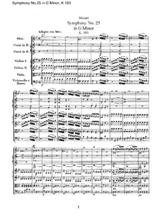 Symphony No.25 in G Minor, K.183: Full score by Wolfgang Amadeus Mozart