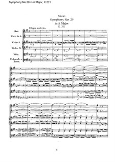 Symphony No.29 in A Major, K.201: Full score by Wolfgang Amadeus Mozart