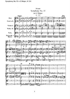 Symphony No.15 in G Major, K.124: Full score by Wolfgang Amadeus Mozart