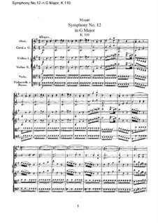 Symphony No.12 in G Major, K.110: Full score by Wolfgang Amadeus Mozart