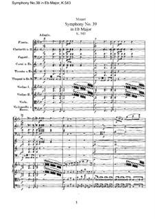 Symphony No.39 in E Flat Major, K.543: Full score by Wolfgang Amadeus Mozart