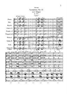 Symphony No.41 in C Major 'Jupiter', K.551: Full score by Wolfgang Amadeus Mozart
