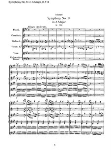 Symphony No.14 in A Major, K.114: Full score by Wolfgang Amadeus Mozart