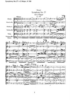Symphony No.27 in G Major, K.199: Full score by Wolfgang Amadeus Mozart