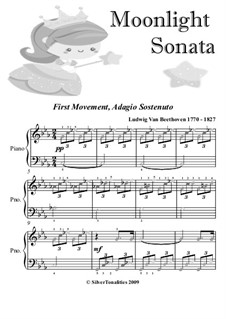 Movement I: For easy elementary piano with colored notes by Ludwig van Beethoven