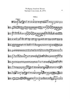 Sinfonia Concertante for Orchestra in E Flat Major, K.297b: Viola part by Wolfgang Amadeus Mozart