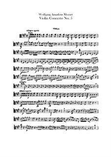 Concerto for Violin and Orchestra No.5 in A Major 'Turkish', K.219: Viola part by Wolfgang Amadeus Mozart