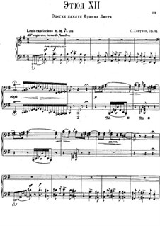 Twelve Transcendental Etudes, Op.11: No.12 Elegy in Memory of Franz Liszt by Sergei Lyapunov