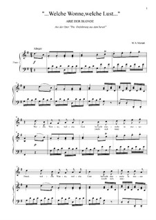 Welche Wonne, welche Lust: For voice and piano by Wolfgang Amadeus Mozart