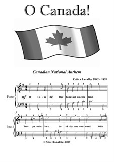 Ô Canada: For easy piano with colored notation by Calixa Lavallée
