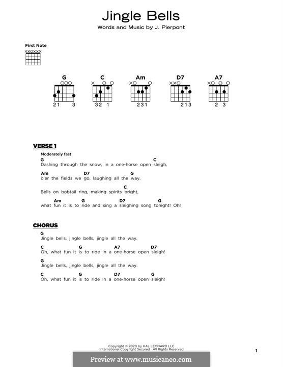 Guitar version: For a single performer by James Lord Pierpont