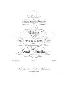 Elegy for Violin and Piano, Op.17: Elegy for Violin and Piano by Heinrich Panofka
