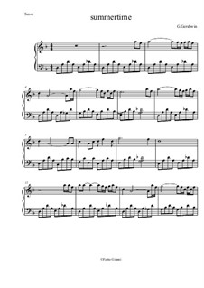 Summertime, for Piano: Easy version by George Gershwin