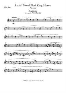 Let All Mortal Flesh Keep Silence: For alto sax and piano – alto sax part by folklore