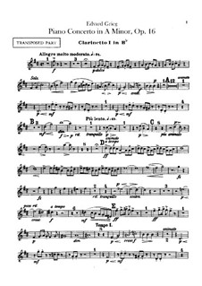 Piano Concerto in A Minor, Op.16: Clarinets parts by Edvard Grieg