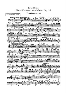 Piano Concerto in A Minor, Op.16: Trombones parts by Edvard Grieg