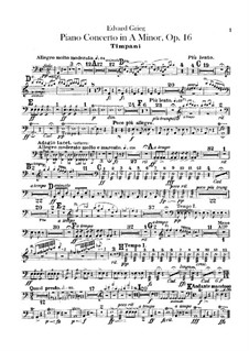 Piano Concerto in A Minor, Op.16: Timpani part by Edvard Grieg