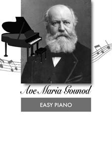 Ave Maria: For easy piano by Johann Sebastian Bach, Charles Gounod