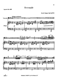 Spanish Dances for Cello and Piano, Op.54: Dance No.2 – score, solo part by David Popper