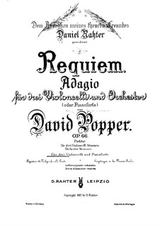 Requiem, for Three Cellos and Piano, Op.66: Full score by David Popper