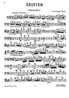Requiem, for Three Cellos and Piano, Op.66: Cello I part by David Popper