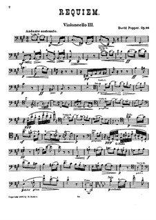 Requiem, for Three Cellos and Piano, Op.66: Cello III part by David Popper
