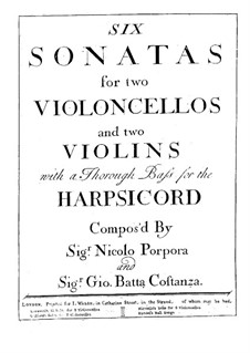 Six Sonatas for Two Violins and Basso Continuo: Basso continuo part by Nicola Porpora
