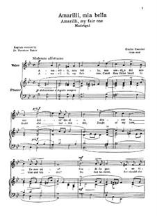 Amarilli, mia bella: For voice and piano by Giulio Caccini