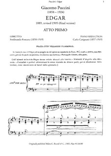 Edgar: Piano-vocal score by Giacomo Puccini