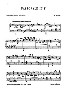 Pastorale in F Major, BWV 590: For piano by Johann Sebastian Bach