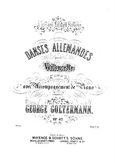 German Dances for Cello and Piano, Op.42: German Dances for Cello and Piano by Georg Goltermann