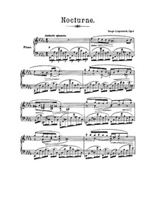 Nocturne in D Flat Major, Op.8: For piano by Sergei Lyapunov