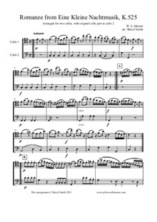 Romance: For cello duo with original cello part by Wolfgang Amadeus Mozart