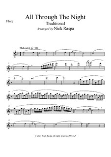 All Through the Night: For flute and piano – flute part by folklore