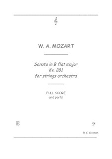 Sonata for Piano No.3 in B Flat Major, K.281: Strings orchestra transcription by Wolfgang Amadeus Mozart
