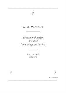 Sonata for Piano No.5 in G Major, K.283: Strings orchestra transcription by Wolfgang Amadeus Mozart