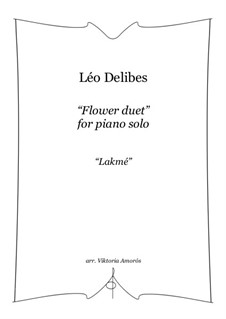 The Flower Duet: For piano by Léo Delibes