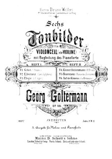 Six Tone-Pictures for Cello (or Violin) and Piano, Op.101: Book I, score by Georg Goltermann
