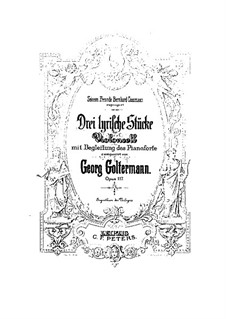 Six Lyric Pieces for Cello and Piano, Op.117: Score by Georg Goltermann