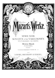 Sonata for Violin and Piano No.1 in C Major, K.6: Score by Wolfgang Amadeus Mozart