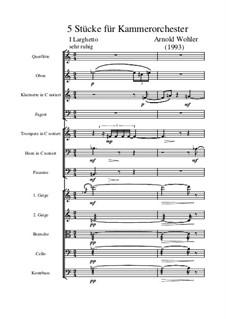 Für Kammerorchester, Op.2: Full score by Arnold Wohler