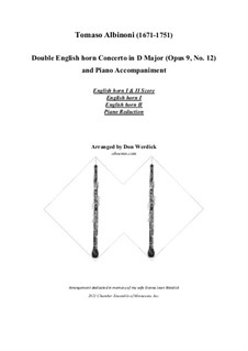 Concerto No.12 in D Major: For double english horn and piano – parts by Tomaso Albinoni