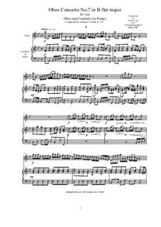 10 Concertos for Violin, Strings and Cembalo, Op.7: Concerto No.7. Version for Oboe and Cembalo (or Piano), RV 464 by Antonio Vivaldi