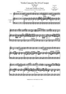 10 Concertos for Violin, Strings and Cembalo, Op.7: Concerto No.10. Version for violin and cembalo (or piano), RV 373 by Antonio Vivaldi