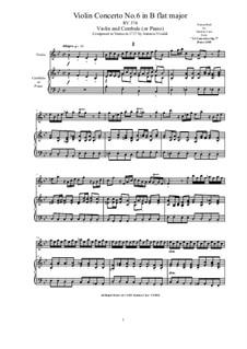 10 Concertos for Violin, Strings and Cembalo, Op.7: Concerto No.6. Version for violin and cembalo (or piano), RV 374 by Antonio Vivaldi