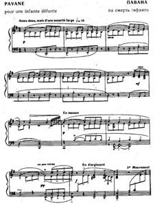 Pavane pour une infante défunte (Pavane for a Dead Princess), M.19: For piano by Maurice Ravel