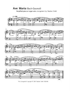 Ave Maria (Instrumental Version – One Instrument): Easy keyboard solo by Johann Sebastian Bach, Charles Gounod