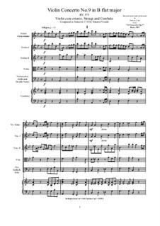10 Concertos for Violin, Strings and Cembalo, Op.7: Concerto No.9, RV 285 by Antonio Vivaldi