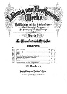 Rondo for Piano and Orchestra in B Flat Major, WoO 6: Full score by Ludwig van Beethoven